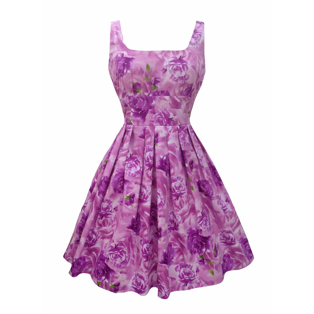 Reproduction 1950s lilac roses dress 10