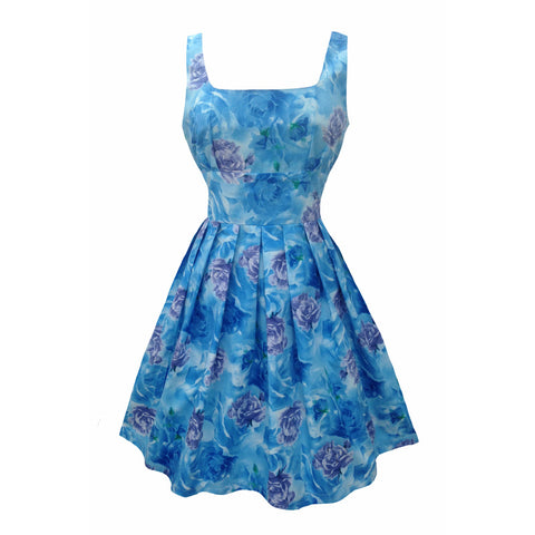 Reproduction 1950s blue roses dress 8/10