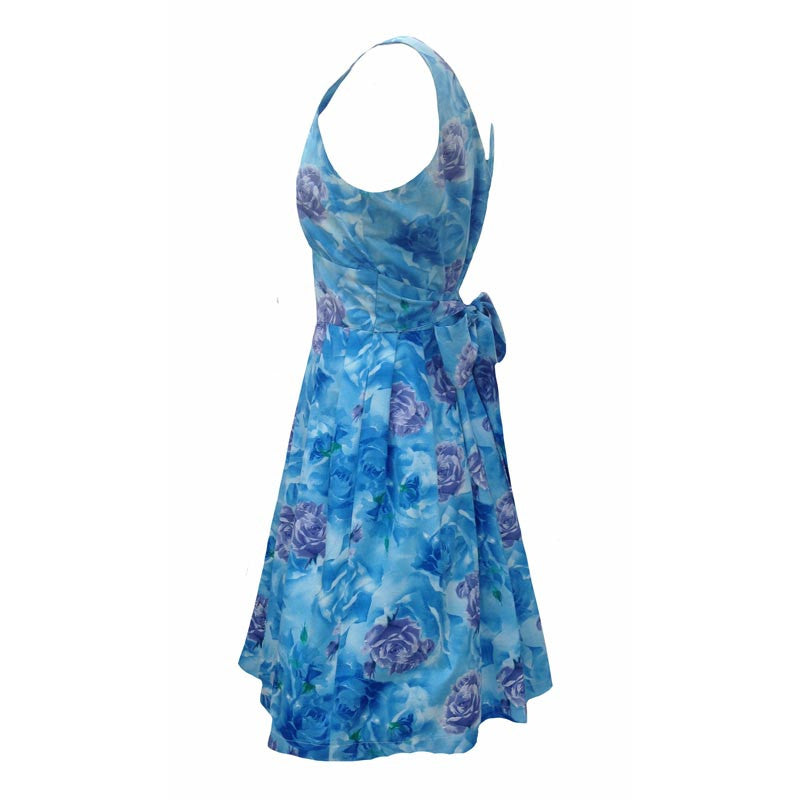 Reproduction 1950s blue roses dress 10/12