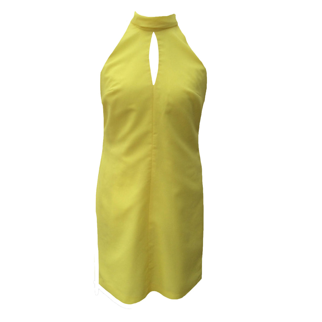 1960s canary yellow vintage disco dress