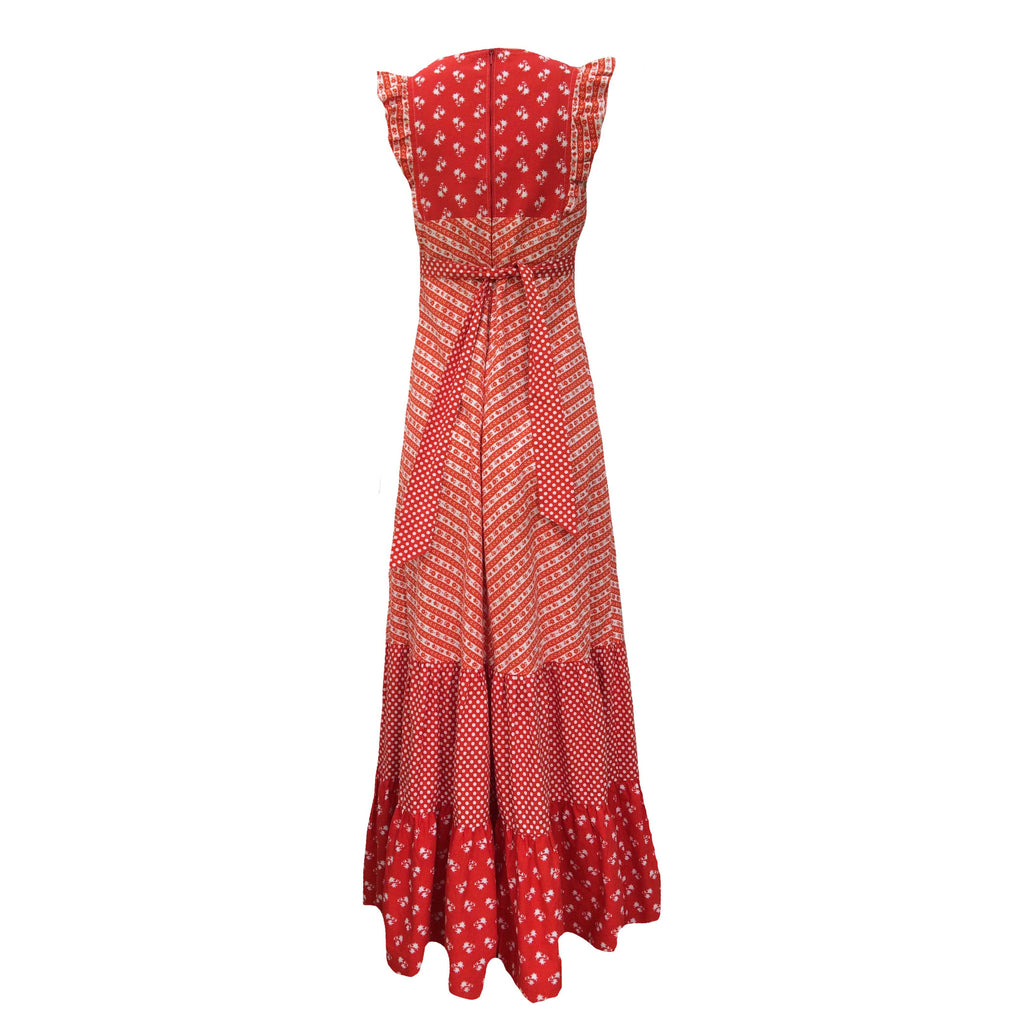 1970s red ditsy print vintage maxi dress