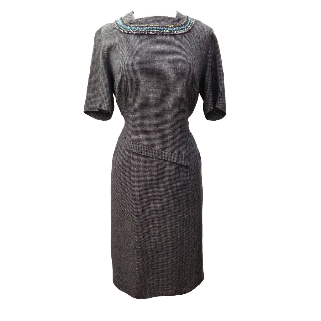 1950s elegant grey formal vintage dress