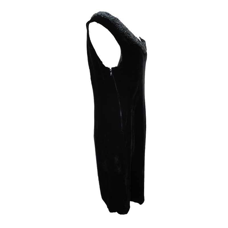 1980s black velvet vintage cocktail dress