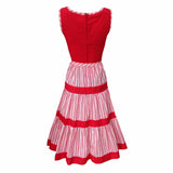 1970s red and white stripe vintage dress