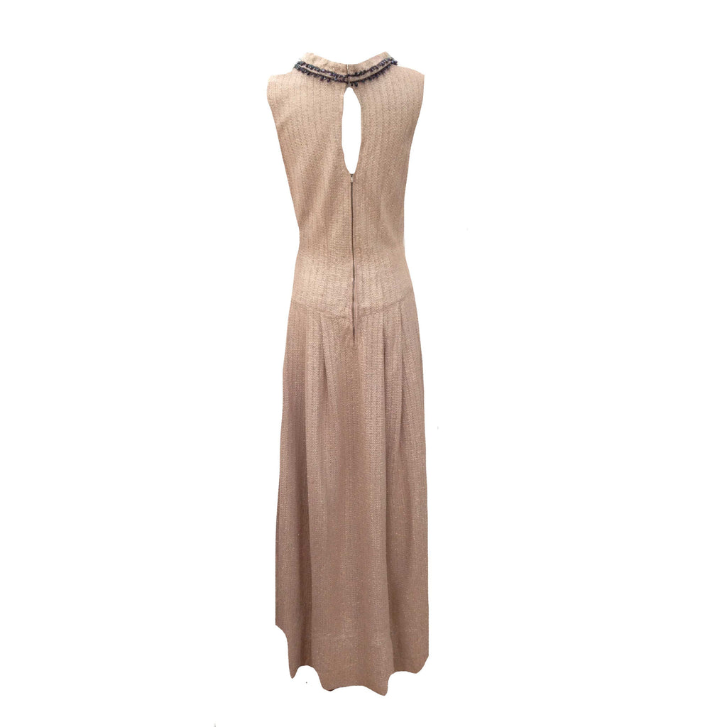 1950s shimmering gold vintage evening gown