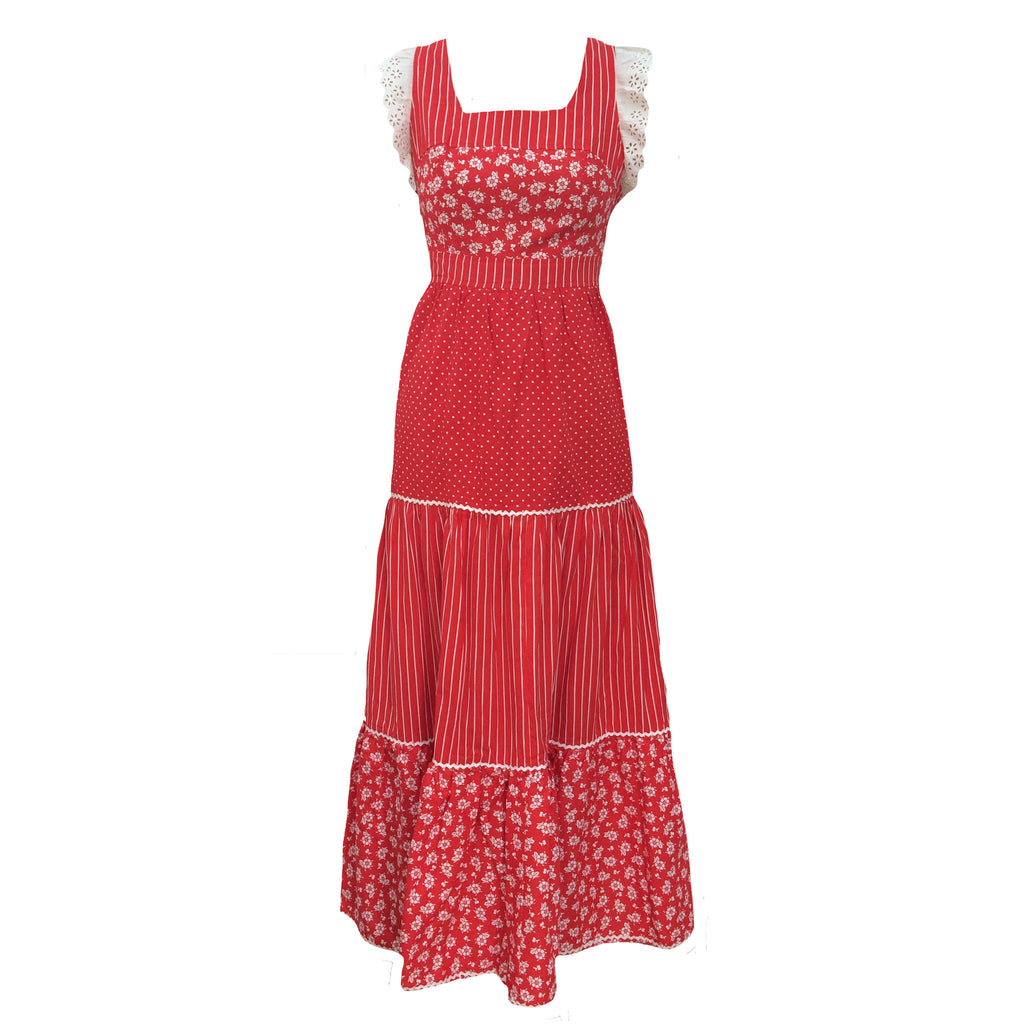 1970s Victorian style vintage red maxi dress