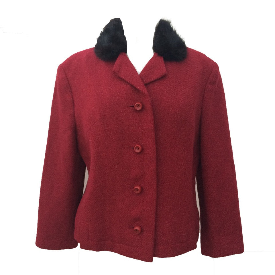 1960s berry red cropped vintage wool jacket