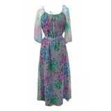 1970s floaty floral vintage prom dress