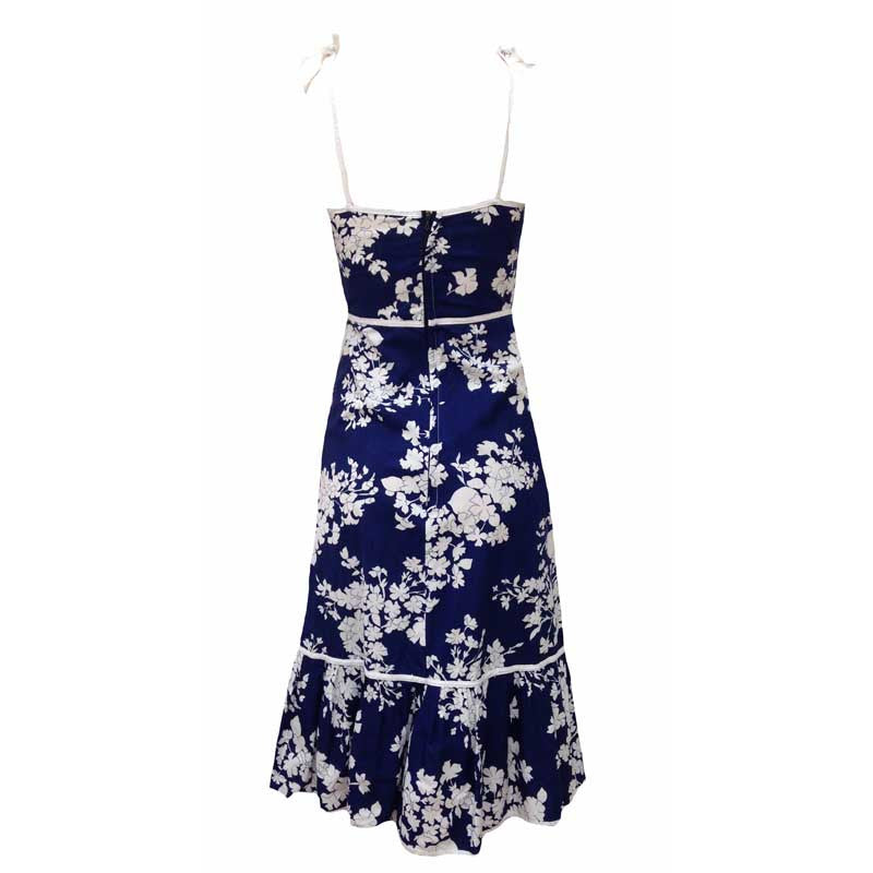 1970s navy and white floral sundress