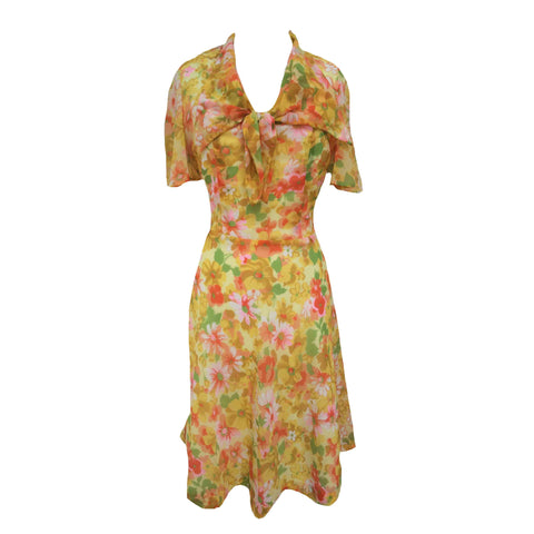 1960s citrus floral tea dress