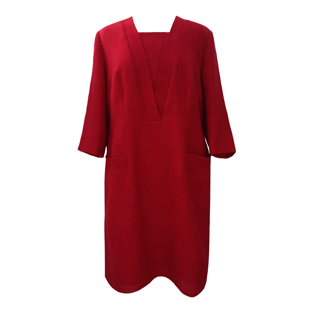 1960s elegant red vintage shift dress