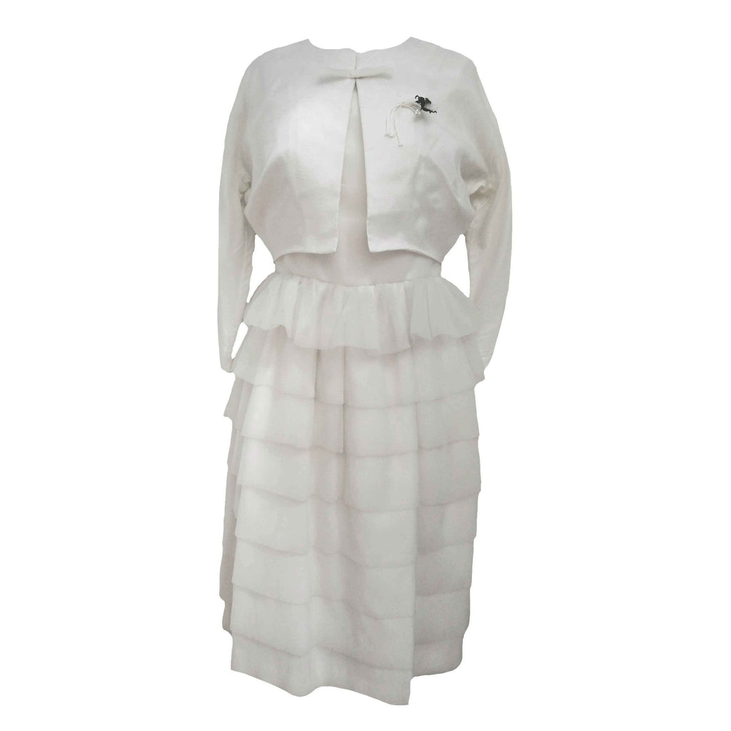 1950s tiered chiffon white cocktail dress