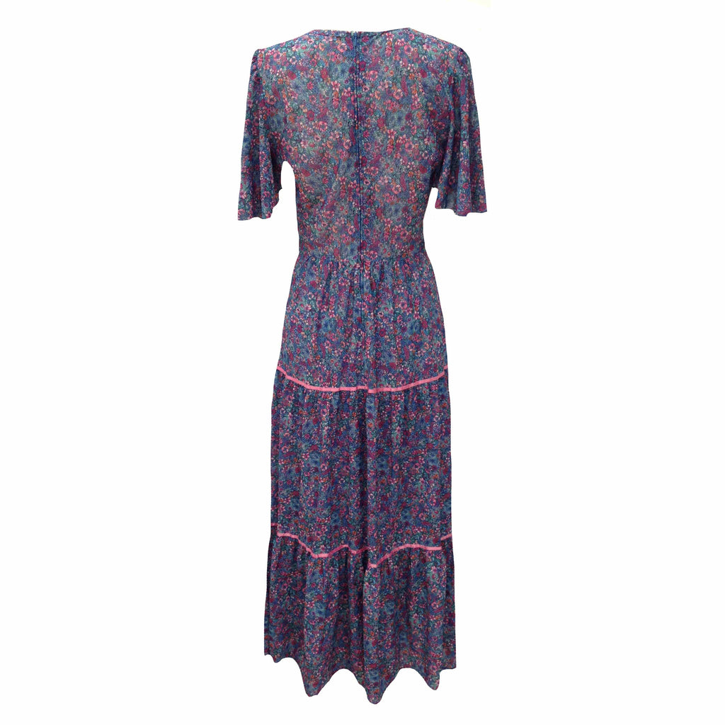 1970s angel sleeve vintage maxi dress