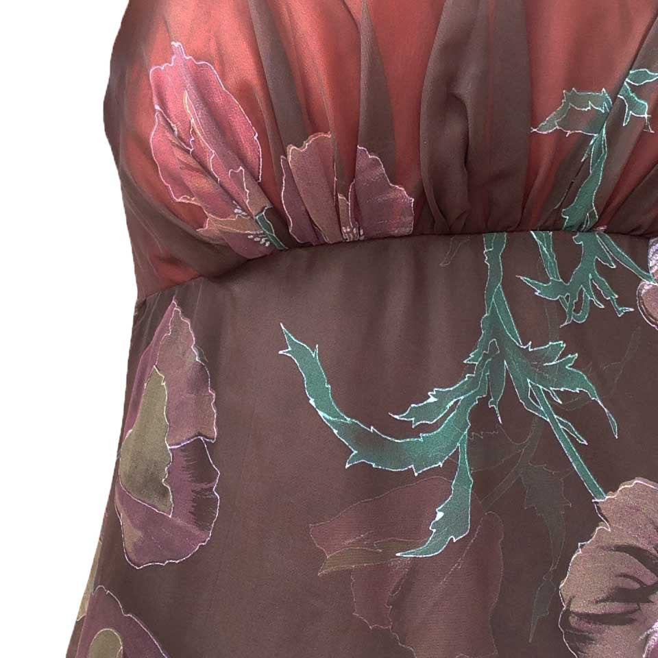 1950s brown floral chiffon evening dress