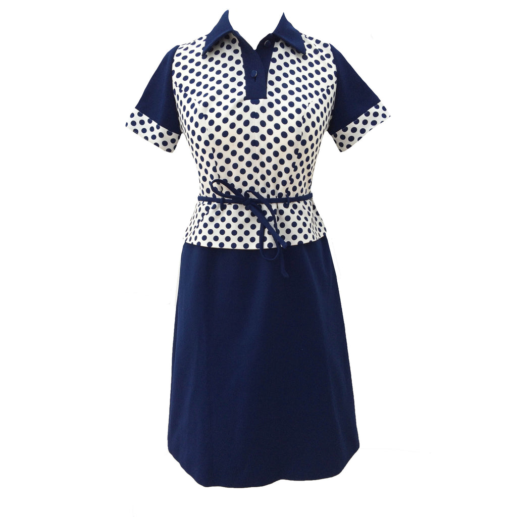 1970s navy polkadot vintage peplum dress