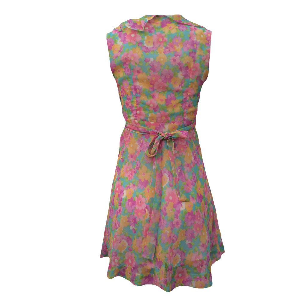 1970s floral chiffon vintage party dress