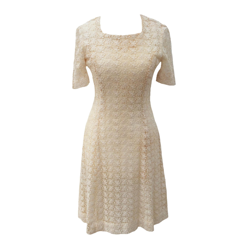 1950s cream lace vintage cocktail dress