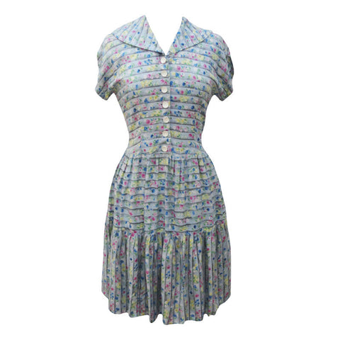 1940s blue floral stripe vintage tea dress