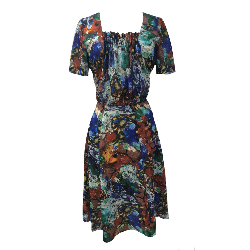 1950s marbled print vintage dress
