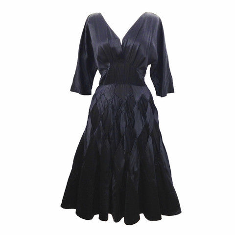 1950s black satin vintage party dress