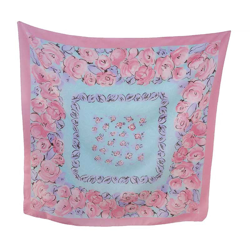 Pink and blue vintage scarf