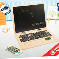 Wooden Laptop with Magnetic Board