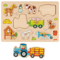 Goki Lift Out Puzzle, Tractor with trailers