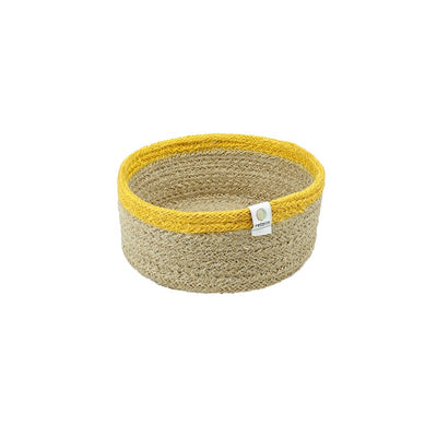 ReSpiin Shallow Jute Basket Small - Natural & Yellow