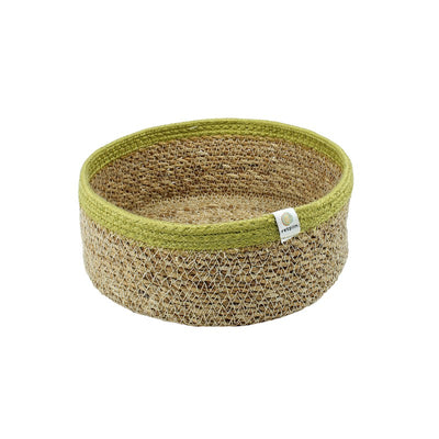 ReSpiin Shallow Seagrass & Jute Basket Medium - Natural & Green