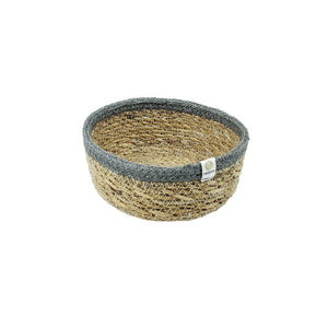 ReSpiin Shallow Seagrass & Jute Basket Small - Natural & Grey