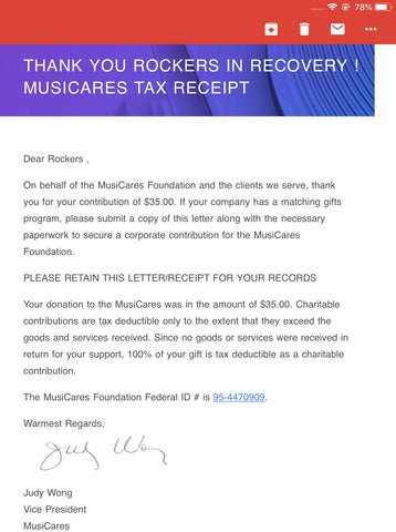 Week One Donations MusiCares