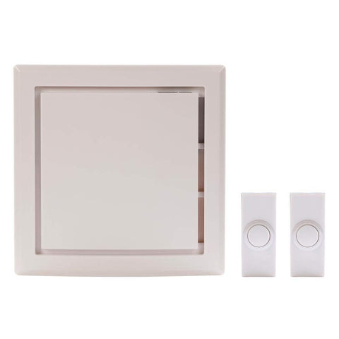 Hampton Bay Wireless Battery Operated Door Bell Kit with 2-Push Buttons in White