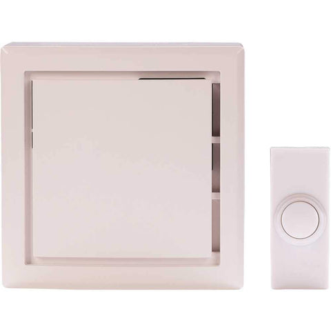 Hampton Bay Wireless Plug-In Door Bell Kit with 2-Push Buttons in White. HB-7731-03