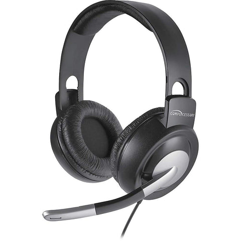 Compucessory 15158 Multimedia Stereo Headset Mic 8-Ft L Cord Gray/Silver