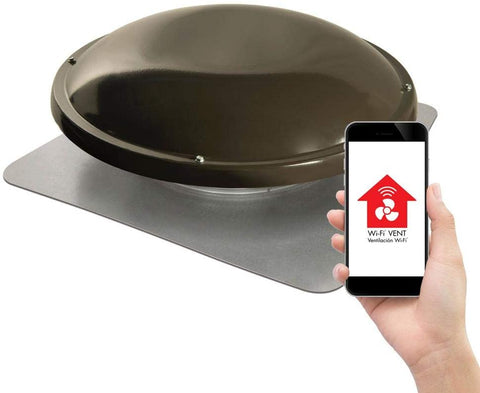 Master Flow WiFi Power Attic Vent - Roof Mount - Weathered Wood - ERV5SMT