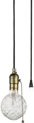 Globe Electric 65446 Edison 1-Light Plug-In Mini Pendant, Bronze, Matte Finish, Designer Black Fabric Cord, Pull Chain On/Off Switch