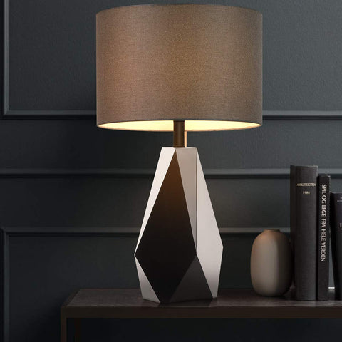 Oneach Modern Table Lamp for Living Room Bedside Desk Lamp Metal Nightstand Lamp for Bedroom Study Office Silver Black