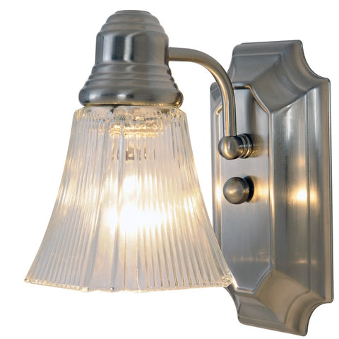 Monument 617093 Decorative Bathroom Wall Sconce, Brushed Nickel, 5-1/2 In.