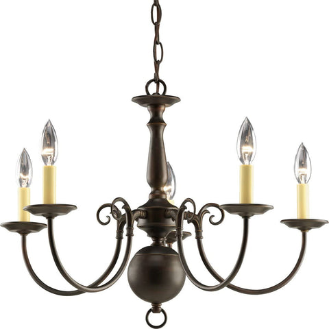 Progress Lighting Light Americana Chandelier with Delicate Arms and Decorative Center Column