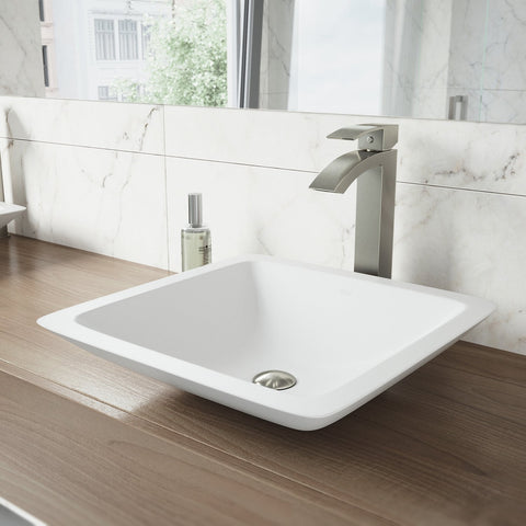 "VIGO VG04006 16.5"" -16.5"" W -4.0"" H White Begonia Handmade Countertop Matte Stone Square Vessel Bathroom Sink in Matte White Finish"