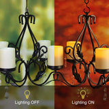 GiveU 3 IN 1 Lighting Chandelier With 4pcs Battery Operated Led Candle With Remote, Table Centerpiece for Indoor or Outdoor Gazebo, Patio Decoration, Black