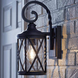Home Decorators Collection 1-Light Black Outdoor Wall Lantern with Seeded Glass