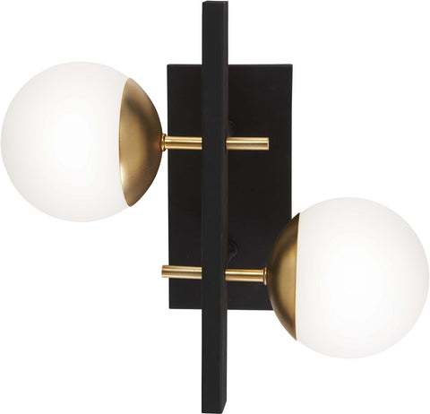 George Kovacs P1351-618 Alluria 2 Light Wall Mount, 150 Watt Total, Weathered Black w/Autumn Gold