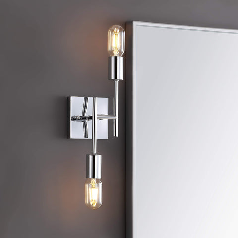 "JONATHAN Y JYL7456A Turing 18.7"" 2-Light Metal Wall Sconce Contemporary 2700K LED 4W Bulbs for Bedroom Livingroom Bathroom Hallway, Chrome"