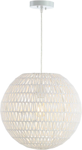 "JONATHAN Y JYL6503A Luna 15.7"" Woven Rattan Orb LED Pendant, Minimalist, Modern, Contemporary, Transitional for Kitchen, Living Room, White"