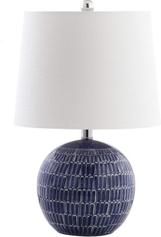 "JONATHAN Y JYL5044A Ronald 21"" Ceramic Table Lamp, Navy"