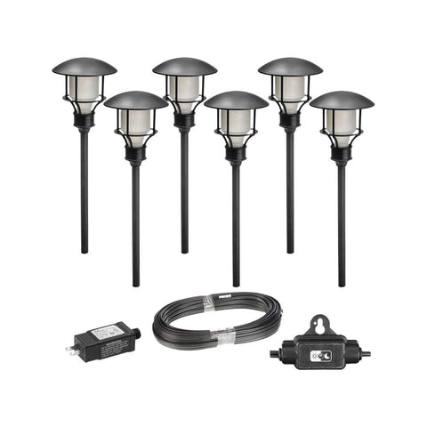 Low Voltage Black Outdoor LED Landscape Path Light 6 pk (USEDE-LIKE NEW)