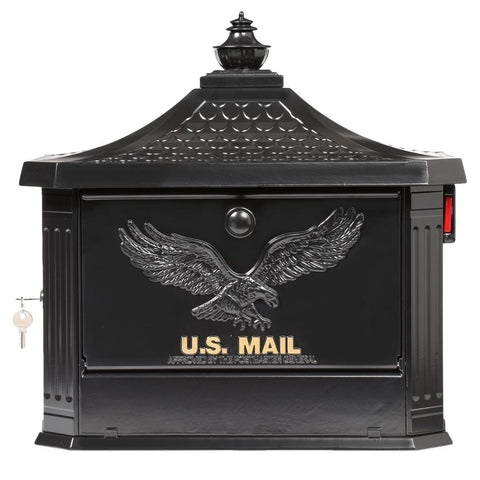 Hamilton Black Locking Aluminum Large Post-Mount Mailbox