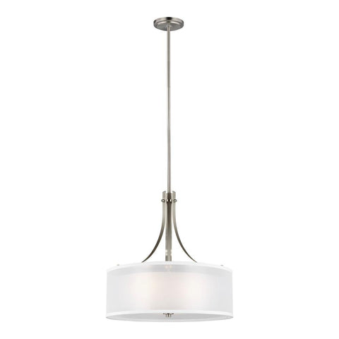 Elmwood Park 3-Light Brushed Nickel Pendant with Satin Etched Glass Shade