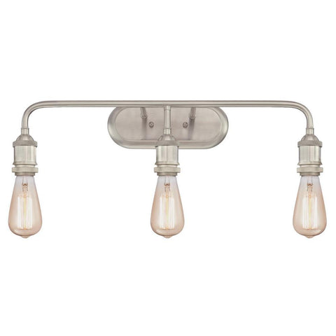 3-Light Brushed Nickel Wall Mount Bath Light